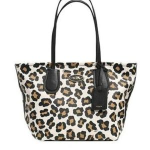 Leopard Cheetah Coach City Tote W Dust Bag